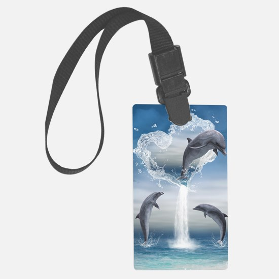 dolphins_5x8_journal Luggage Tag