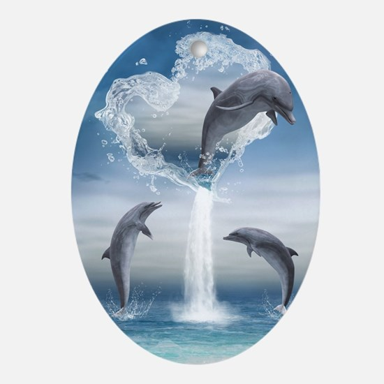 dolphins_5x8_journal Oval Ornament