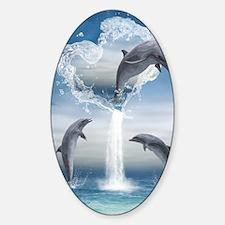 dolphins_5x8_journal Sticker (Oval)