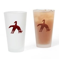 Red Holiday Borzoi Drinking Glass