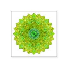 "Green Yellow Earth Mandala  Square Sticker 3"" x 3"""