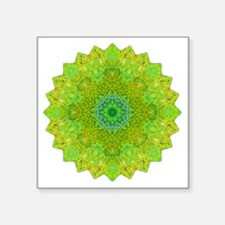 "Green Yellow Earth Mandala  Square Sticker 3"" x 3"""
