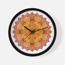 Orange Yoga Mandala Shirt Wall Clock