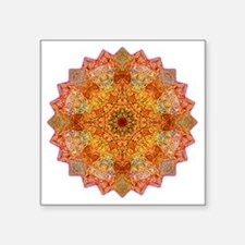 "Orange Yoga Mandala Shirt Square Sticker 3"" x 3"""