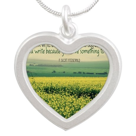 Write To Say Quote on Large Silver Heart Necklace