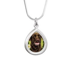 Seasonal Choc Lab Silver Teardrop Necklace