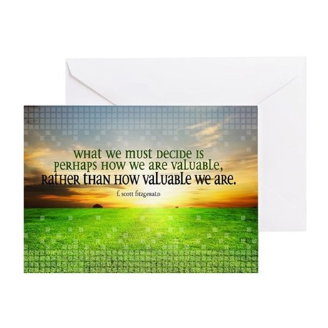 Valuable and Decide Quote on Large F Greeting Card