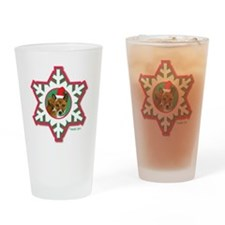 MABC_3B NEW BRINDLE Red  Green Snow Drinking Glass