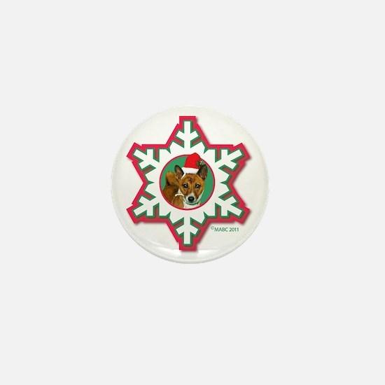 MABC_3B NEW BRINDLE Red  Green Snowfla Mini Button