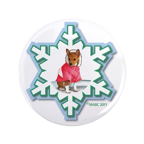 """MABC_2A NEW RED Blue Green Snowflake_ 3.5"""" Button"""