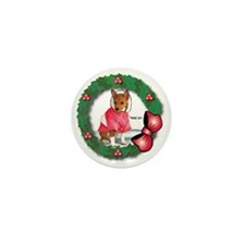 MABC_Red Basneji Puppy w- Red Berries  Mini Button