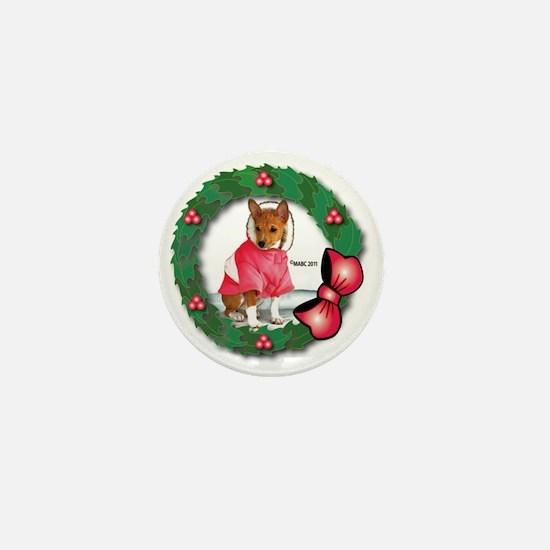 MABC_Red Basneji Puppy w- Red Berries  Mini Button