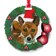 MABC_Brindle Baseneji w-Red Berries Ornament