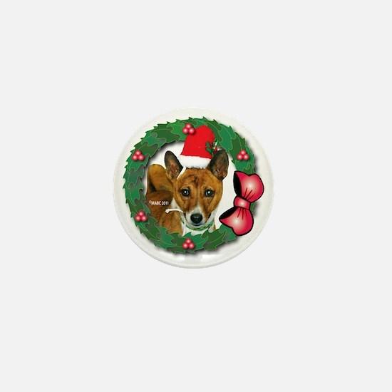 MABC_Brindle Baseneji w-Red Berries  B Mini Button