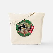 MABC_TRI Basenji Pup w-Red Balls  Bow Wre Tote Bag