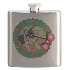 MABC_TRI Basenji Pup w-Red Balls  Bow Wreath Flask
