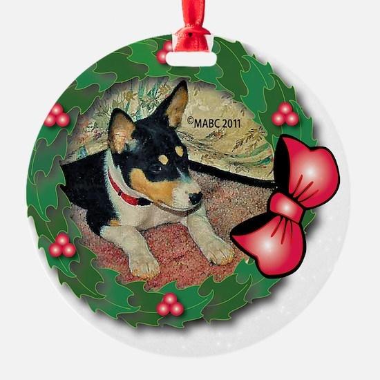 MABC_TRI Basenji Pup w-Red Balls  B Ornament