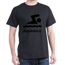 Aquaholic Swimmer Black T-Shirt