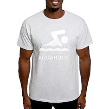 Aquaholic Swimmer White T-Shirt