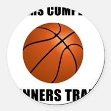 Winners Train Basketball Black Round Car Magnet