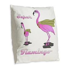 Super Flamingo01 Burlap Throw Pillow