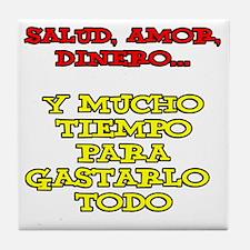 Salud Amor Dinero Glass Tile Coaster