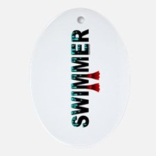 Swimmer Oval Ornament