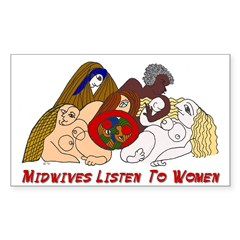 Midwives Listen to Women Rectangle Decal