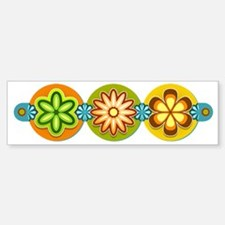 Retro Flowers Bumper Bumper Sticker