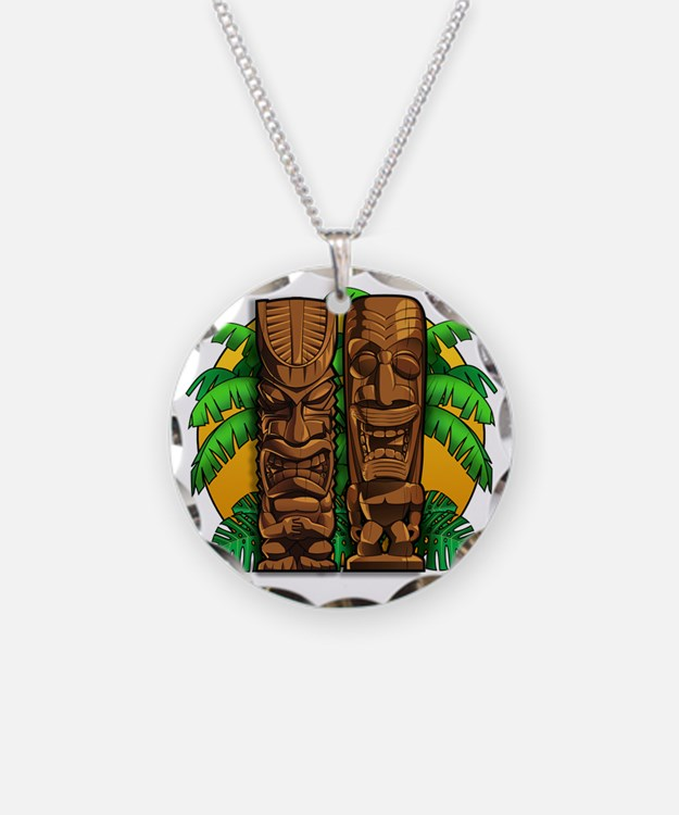 Tiki Gods Necklace Circle Charm