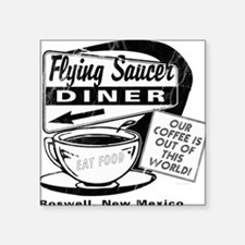 "Flying Saucer Diner Square Sticker 3"" x 3"""