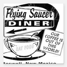 """Flying Saucer Diner Square Car Magnet 3"""" x 3"""""""