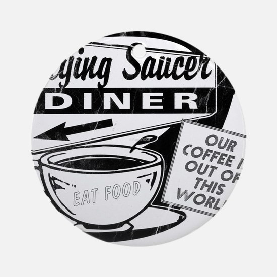 Flying Saucer Diner Round Ornament