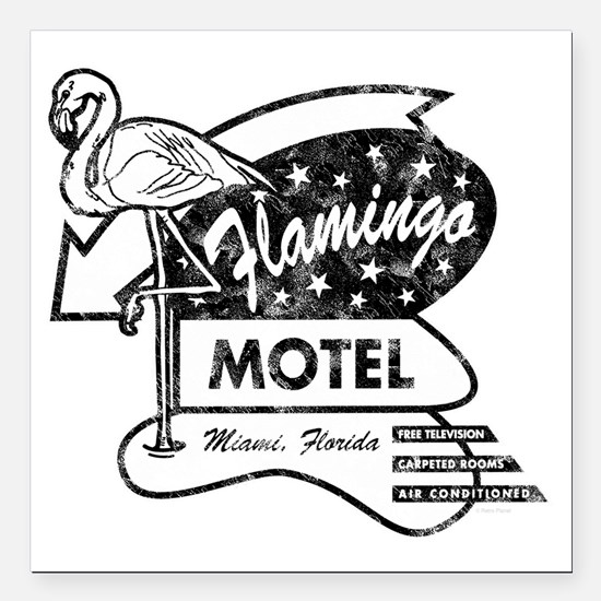 "Flamingo Motel Square Car Magnet 3"" x 3"""