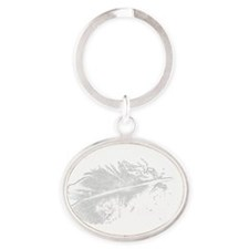 white new moon feather Oval Keychain
