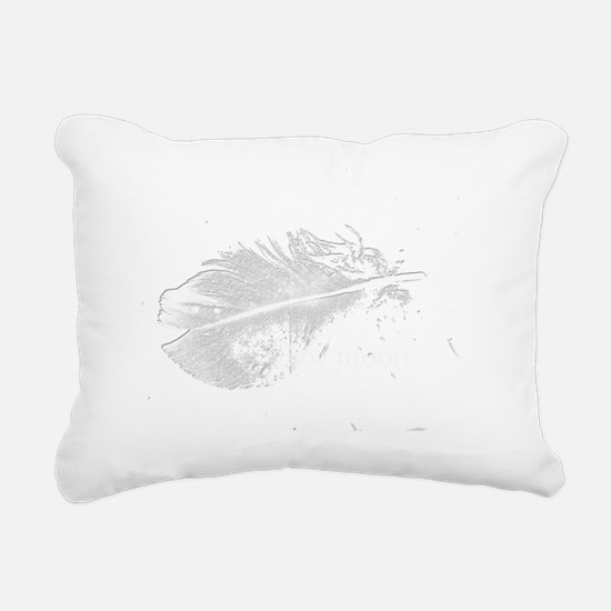 white new moon feather Rectangular Canvas Pillow