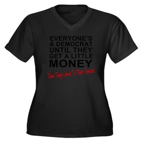 Everyones-a- Women's Plus Size Dark V-Neck T-Shirt