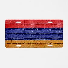 flag_grunge_wall_armenia Aluminum License Plate