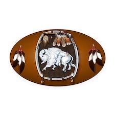 purse Whie Buffal brown Oval Car Magnet