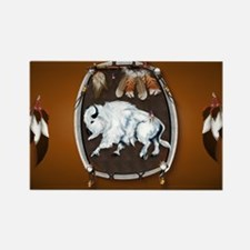purse Whie Buffal brown Rectangle Magnet