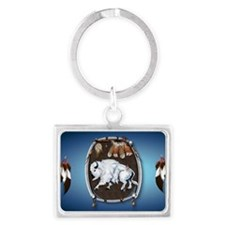 purse Whie Buffal blue Landscape Keychain
