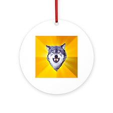 Courage Wolf Round Ornament