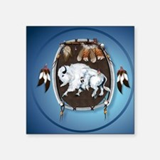 "circle White Buffalo Sheild Square Sticker 3"" x 3"""