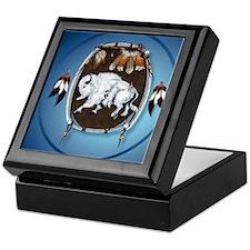 circle White Buffalo Sheild-blue2 Keepsake Box