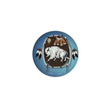 circle White Buffalo Sheild-blue2 Mini Button