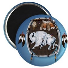 circle White Buffalo Sheild-blue2 Magnet