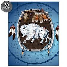 circle White Buffalo Sheild-blue2 Puzzle