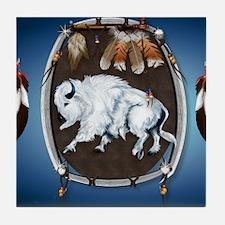 CalenderWhite Buffalo Shield 2blue Tile Coaster