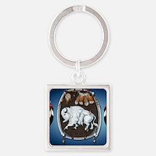 CalenderWhite Buffalo Shield 2blue Square Keychain