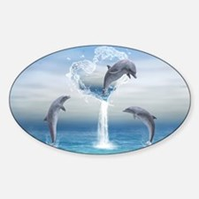 dolphins_clutch_bag_front_ Sticker (Oval)
